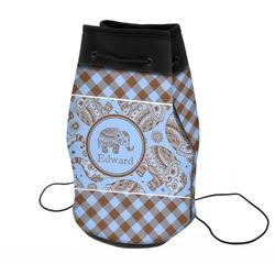 Gingham & Elephants Neoprene Drawstring Backpack (Personalized)