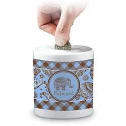Gingham & Elephants Coin Bank (Personalized)