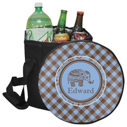 Gingham & Elephants Collapsible Cooler & Seat (Personalized)