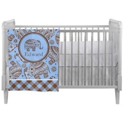 Gingham & Elephants Crib Comforter / Quilt (Personalized)