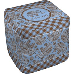 Gingham & Elephants Cube Pouf Ottoman (Personalized)