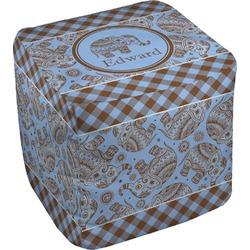 "Gingham & Elephants Cube Pouf Ottoman - 18"" (Personalized)"