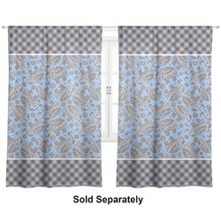 "Gingham & Elephants Curtains - 40""x63"" Panels - Lined (2 Panels Per Set) (Personalized)"