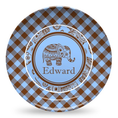 Gingham & Elephants Microwave Safe Plastic Plate - Composite Polymer (Personalized)