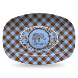 Gingham & Elephants Plastic Platter - Microwave & Oven Safe Composite Polymer (Personalized)