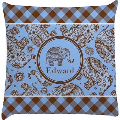 Gingham & Elephants Decorative Pillow Case (Personalized)