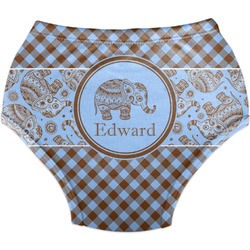 Gingham & Elephants Diaper Cover (Personalized)