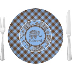 "Gingham & Elephants Glass Lunch / Dinner Plates 10"" - Single or Set (Personalized)"