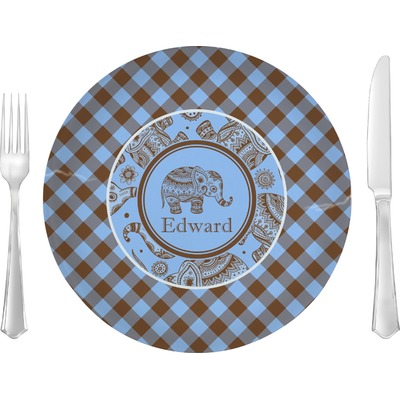 """Gingham & Elephants 10"""" Glass Lunch / Dinner Plates - Single or Set (Personalized)"""