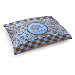 Gingham & Elephants Dog Pillow Bed (Personalized)