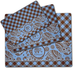 Gingham & Elephants Dog Food Mat w/ Name or Text