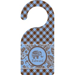 Gingham & Elephants Door Hanger (Personalized)