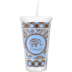 Gingham & Elephants Double Wall Tumbler with Straw (Personalized)