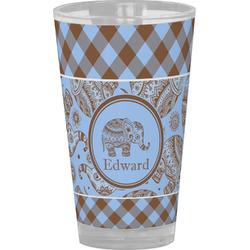 Gingham & Elephants Drinking / Pint Glass (Personalized)