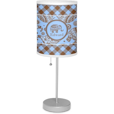 """Gingham & Elephants 7"""" Drum Lamp with Shade (Personalized)"""