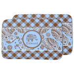 Gingham & Elephants Dish Drying Mat (Personalized)