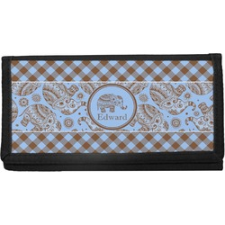 Gingham & Elephants Canvas Checkbook Cover (Personalized)