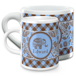 Gingham & Elephants Espresso Cups (Personalized)
