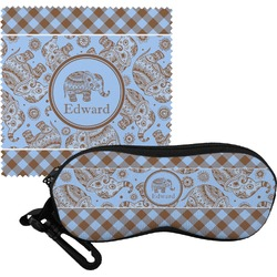 Gingham & Elephants Eyeglass Case & Cloth (Personalized)