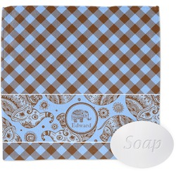 Gingham & Elephants Wash Cloth (Personalized)