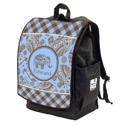 Gingham & Elephants Backpack w/ Front Flap  (Personalized)