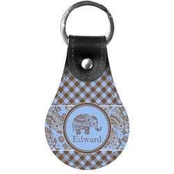 Gingham & Elephants Genuine Leather  Keychains (Personalized)