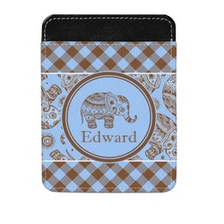 Gingham & Elephants Genuine Leather Money Clip (Personalized)