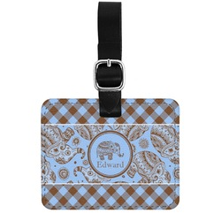 Gingham & Elephants Genuine Leather Rectangular  Luggage Tag (Personalized)