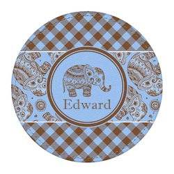 Gingham & Elephants Round Desk Weight - Genuine Leather  (Personalized)