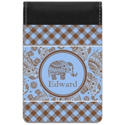 Gingham & Elephants Genuine Leather Small Memo Pad (Personalized)