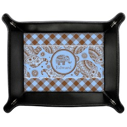 Gingham & Elephants Genuine Leather Valet Tray (Personalized)