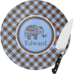 Gingham & Elephants Round Glass Cutting Board (Personalized)