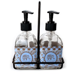 Gingham & Elephants Soap/Lotion Dispensers (Glass) (Personalized)
