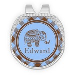 Gingham & Elephants Golf Ball Marker - Hat Clip