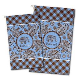 Gingham & Elephants Golf Towel - Full Print w/ Name or Text