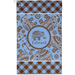 Gingham & Elephants Golf Towel - Full Print - Small w/ Name or Text