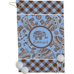 Gingham & Elephants Golf Towel - Full Print (Personalized)