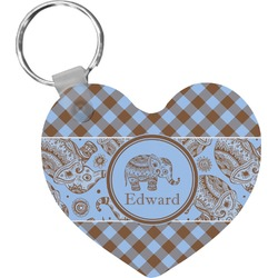 Gingham & Elephants Heart Keychain (Personalized)