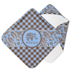 Gingham & Elephants Hooded Baby Towel (Personalized)
