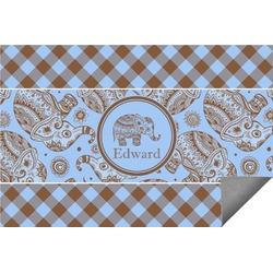 Gingham & Elephants Indoor / Outdoor Rug (Personalized)