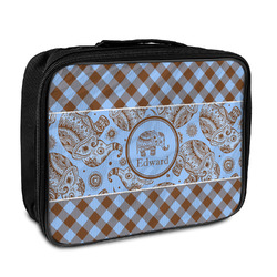 Gingham & Elephants Insulated Lunch Bag (Personalized)