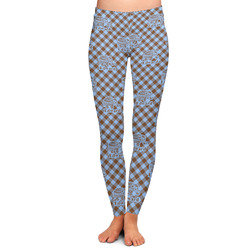 Gingham & Elephants Ladies Leggings - Large (Personalized)