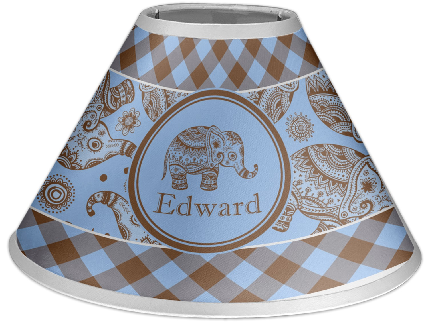 Blue gingham lamp shade car essay gingham elephants coolie lamp shade personalized aloadofball Image collections