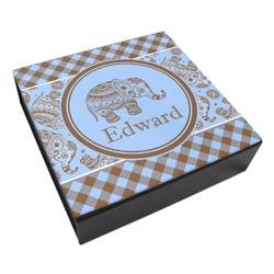 Gingham & Elephants Leatherette Keepsake Box - 3 Sizes (Personalized)