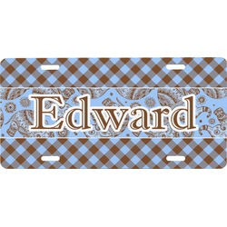 Gingham & Elephants Front License Plate (Personalized)
