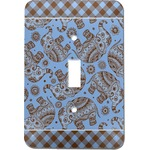 Gingham & Elephants Light Switch Cover (Single Toggle) (Personalized)