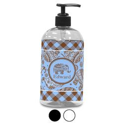 Gingham & Elephants Plastic Soap / Lotion Dispenser (Personalized)