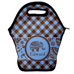 Gingham & Elephants Lunch Bag w/ Name or Text