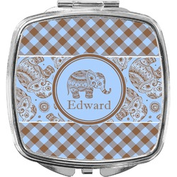 Gingham & Elephants Compact Makeup Mirror (Personalized)