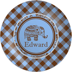 Gingham & Elephants Melamine Plate (Personalized)